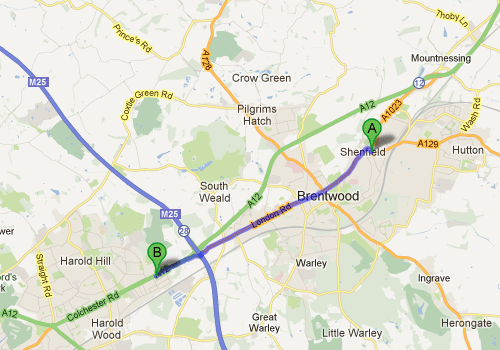 Shenfield Dentists Map