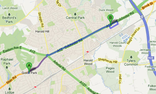 Directions from Gidea Park to Winning Smiles